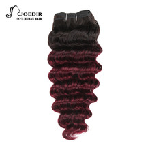 Joedir Hair Pre-Colored Brazilian Remy Human Hair Weave Nature Deep Wave #27 Strawberry Blonde Color #T1B/99J Burgundy Bundle(China)