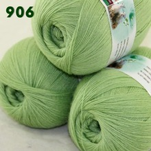 Lot of 3 Skeins Fine Lace Soft Wool Acrylic Cashmere Yarn Knittin Lime green 238-906(China)