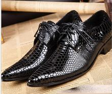 Fashion High-grade luxurious men black serpentine patent leather and men's Prom and Banquet handmade loafers male dress flats(China)