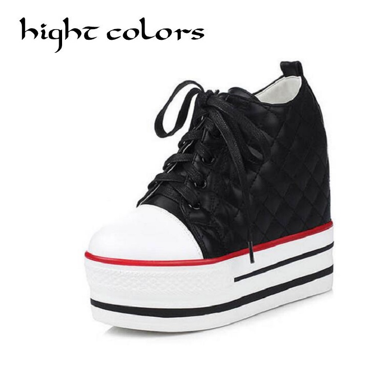 Fashion Women Wedges Ankle Boots 2017 Spring Winter Concealed Heel High Top Sexy Women Boots Platform Lace-Up Student Shoes<br>