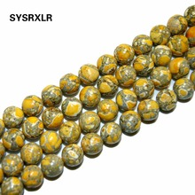 "The Free Transport 15 ""Natural Stone Yellow Sea Sediment Beads Round Imperial Loosened 6/8/10 MM Choice Format For Jewelry DIY(China)"