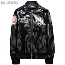 2017 Luxury Brand Clothing Skull Printed Men Pilot Leather Jacket Fashion Motorcycle Veste Cuir Homme Man Coats jaqueta de couro