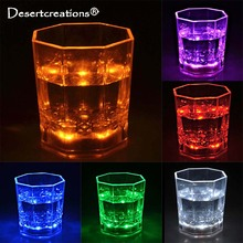 LED Lamp Plastic Transparent Cups Bar Club Wine Glass Flashing Octagonal Scotch Luminous Mugs Light Glow Beer Glasses For Party(China)