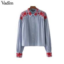 Vadim women vintage floral embroidery striped shirt long sleeve loose blouse turn down collar office wear tops blusas LT2055