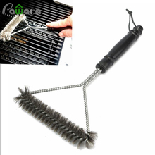 BBQ Barbecue Grill Clean Brush with Plastic Handle Stainless Steel Tool Cleaner Scraper for Outdoor Furniture Accessories 12""