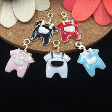 Trendy 16*23MM Baby Bib Pants Alloy Charm 5PCs/Lot Gold Tone Oil Drop Enamel Bracelet Necklace Keyring Phone Chain Pendant Charm