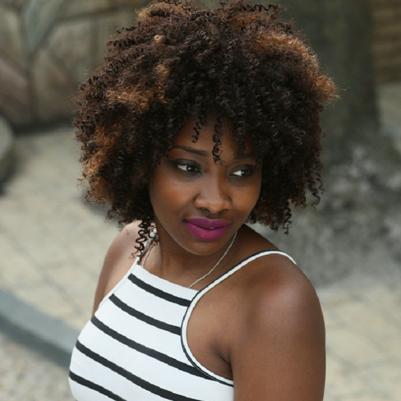 180% Density Short Kinky Curly Hairstyle Free Part African American Hair Synthetic Hair Wigs For Women<br><br>Aliexpress
