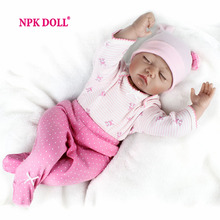 NPKDOLL 22 Inch 55 CM Reborn Doll Soft Silicone Dolls Sleeping Baby Doll Toy For Kids Fashion Doll COLLECTION For Children(China)