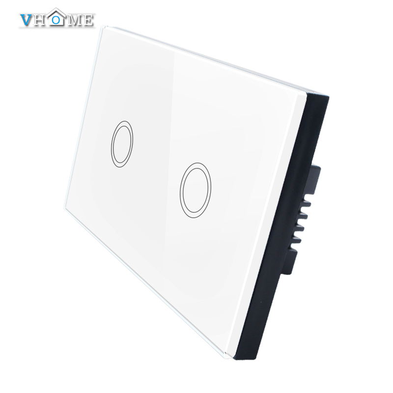 Good Quality Vhome US/AU Standard 220v Touch Switch Wall Switch 2 Gang 1 Way White Waterproof Glass Panels Switch For Smart Home<br><br>Aliexpress