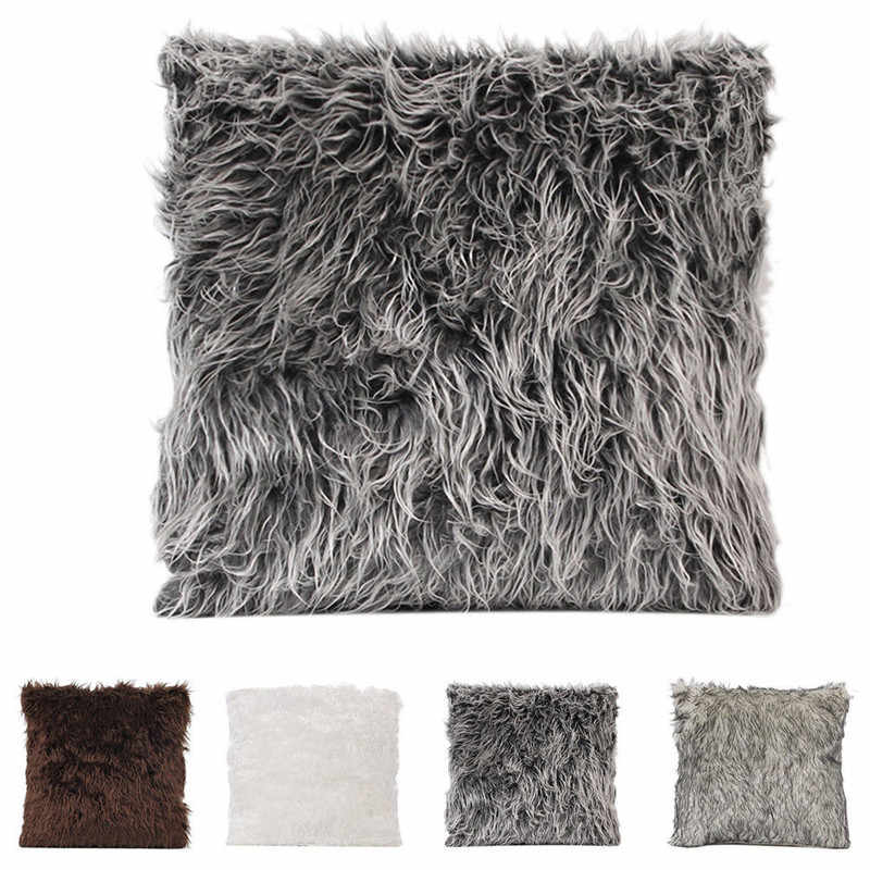 18 Styles Plush Solid Color Cushion Cover Soft Fur Warm Throw Pillow Cases Decorative Pillow Cover Sofa Waist Cushion Home Decor