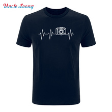 photographer heartbeat photo printing T-shirts Men Cotton Short Sleeve Summer T Shirts Hip Hop Under streetwear(China)