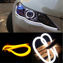 2x 60cm 12V Turn Signal Light Flexible Silicon Car LED Strip Lights Daytime Running Light Tube AUTO DRL Blue/White /Yellow(China)