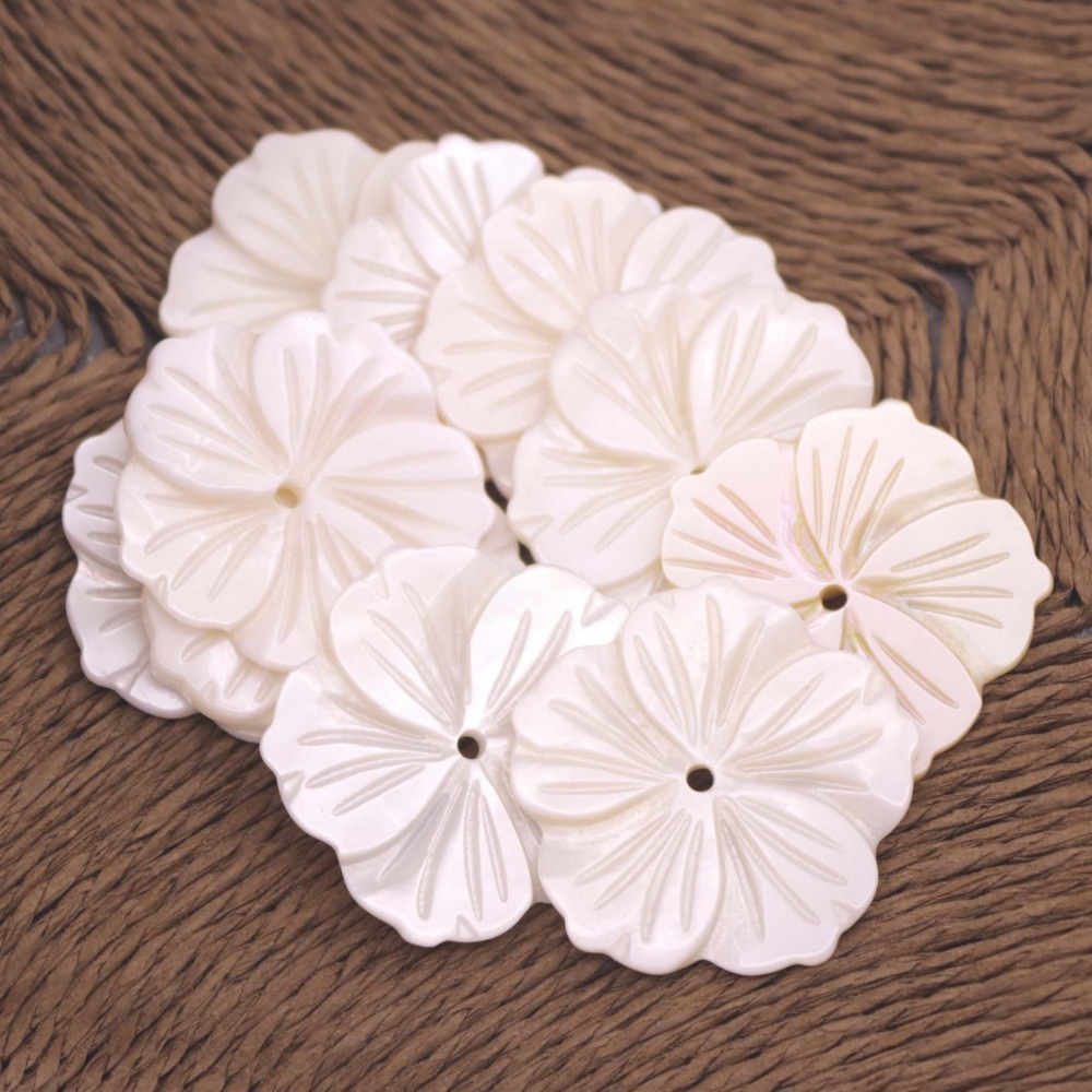 5 PCS Shell charm Natural Beige White Mother of Pearl Pendant  30mmX45mm