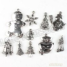 New 60pcs/lot Christmas Decoration Assorted Charm Pendant Antique Alloy Silver Plated Jewelry Finding Fit Jewerly DIY 142766(China)