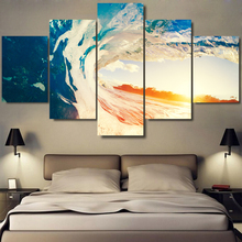 5 Piece canvas Big Ocean Waves Blue Sky Sunrise Sea Sunup nvas Painting Prints Wall Art Fashion decoration for home Poster\C-828
