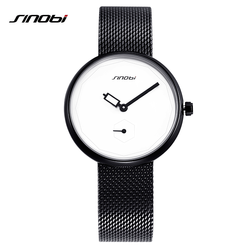 2017 New SINOBI Watches Brand Luxury Stainless Steel Band Women Black Quartz Watches Creative Fashion Relogio Feminino #9719<br>