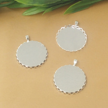 Inner:20mm,25mm 50pcs/Bag Silver Color Blank Pendant Trays Hanger,Base Setting Zakka Glass Cabochons(China)