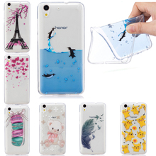Beautiful Floral Cherry Blossom Loving Heart Feather Case Cover For Huawei Y6 ll Transparent Soft Silicone Cell Phone Cases