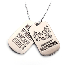 STG Game Playerunknown's Battlegrounds Necklace Stainless Steel PUBG WINNER CHICKEN DINNER Letter Logo Dog Tag Pendant 2017 New(China)