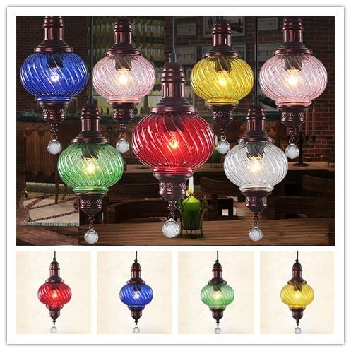 2015 Newest Colourful Crystal Pendant Lights, Creative Retro Iron Lamp European USA Bedroom Bar Living Room Lamp Pendant Lamp<br><br>Aliexpress