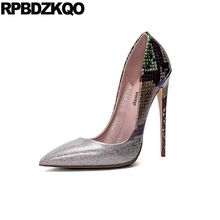 Genuine Leather Size 4 34 Stiletto Silver Female 10 42 2017 Sexy Ladies High Heels Shoes Pumps 12cm 5 Inch Snakeskin Extreme