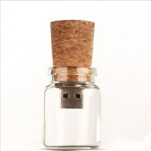Diving bottles flesh usb 16gb 32gb usb 2.0 driver wood cork glass bottle shape flesh usb 64(China)