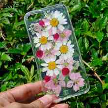 For iPhone 5s Case Beautiful Real Pressed Flower Phone Case For iPhone 6 6 Plus 7 X Floral Soft TPU Transparent Clear Phone Case(China)