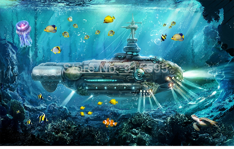 HTB10k4Fj8DH8KJjSszcq6zDTFXao - Custom 3D Photo Wallpaper Submarine Underwater World Wall Decor Mural Living Room Bedroom Children Room 3D Wall Murals Wallpaper