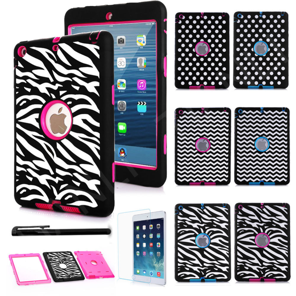 Dot Zebra Wave Shockproof Heavy Duty Rubber Hard Case Cover for iPad 2 iPad 3 iPad 4 Cover Case w/Screen Protector+Stylus Pen<br><br>Aliexpress