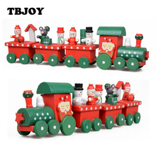 1 Set Painted Wooden 4 Piece Little Train Models Action Toy Figures Kids Toys for Children Christmas Ornament Decoration Gifts