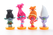 Promotion Trolls Movie 4Pcs/Set 7cm trolls Figure Collectible Doll Poppy Branch Biggie PVC Troll Action Figures Doll Kid Toy