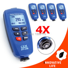 4 x pieces CEM DT-156 Pro Paint Coating Thickness Meter Gauge USB Cable CD Software Auto F/NF Probe Tester 1250um