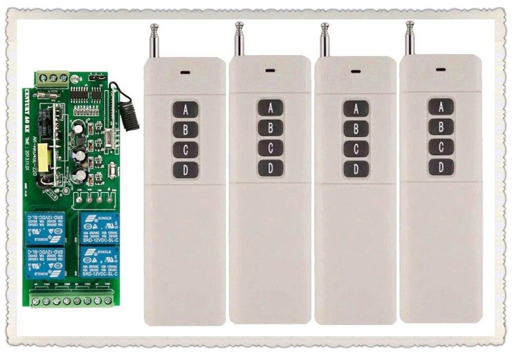 Long Transmitter  AC85v~250V 110V 230V 4CH Wireless Remote Control Switch 220V Relay Output Radio RF 4pcs Transmitter+1*Receiver<br>