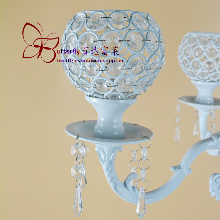 5 Arm white Crystal Globe Candelabra 100cm Tall-7555