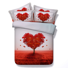 design red heart tree bed linens white 3d comforter cover girls queen twin bedding sets 3/4pc full king sizes 500tc coverlets