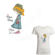 Hot Lovely girl Heat Transfer 20*12cm NICE DAY Patch Ironing Stickers Iron On Patches A-plus Washable Appliques
