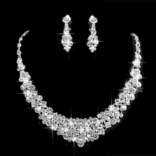 Sparkly Silver Tone Clear Rhinestone Crystal Diamante Wedding Necklace and Earrings Jewlery Sets(China)