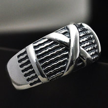 Fashion 925 Silver Rings X Adjustable Size 6.5-9.5 Trendy Popular S925 Solid Thai Silver Ring for Men Jewelry(China)