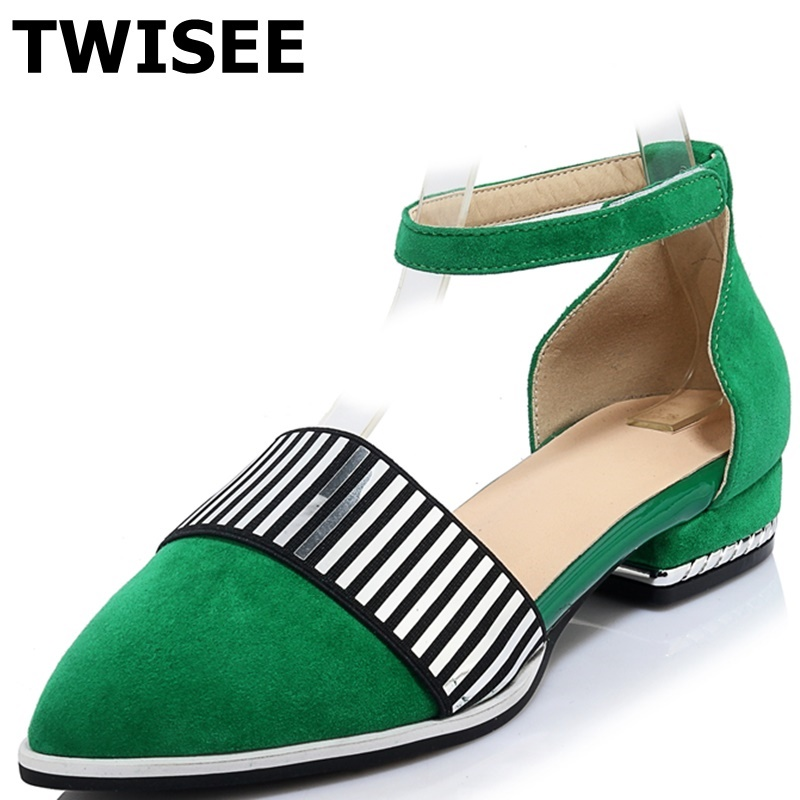 suede leather Pointed Toe Ladies shoes woman sandals Comfortable summer sandals Rubber low heels 1.5 cm woman casual shoes<br><br>Aliexpress