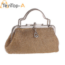 TenTop-A New Europe Both Sides Rhinestone Dinner Evening Bag Silver Alloy Chain Clutch Bags Bridal Wedding Handle Clutch Purse