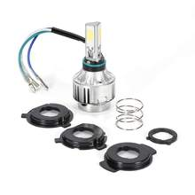 H4 LED Motorcycle Headlight Kit 24W 2500lm 3 COB Chips Bike Head Lamp Mini LED Bulb 6500K/3000K & H4 Connector vXuu