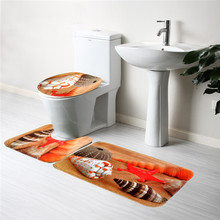 Seashell Bathroom Mat 3PCS Soft Flannel Contour Pedestal Rug Lid Toilet Cover Bath Carpet Tool Best Promotion