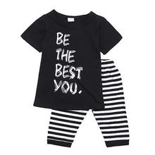 "baby 2pcs suit!! kids baby girls boy clothes ""Be The Best You "" letter printed tops +striped shorts outfits set"