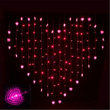 2017 2M x 1.5m Heart Shape 128 Hearts Multicolor LED String Holiday Light Christmas Wedding Decoration Curtain lights EU 220v(China)