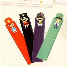 6 Pieces New Cute Cartoon Soldier Straight Tools Drawing Gift Korean School Office 15cm Stationery 4 Colors Plastic Rulers(China)
