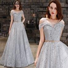 036b41962 JaneVini una línea elegante gris plata vestidos de baile con fajas 2019 el  hombro brillo lentejuelas tul fiesta Formal vestidos