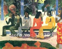 Oil Painting Reproduction,Ta Matete (The Market) by paul gauguin ,Free DHL Shipping,100% handmade on linen canvas(China)
