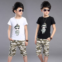 Children's Clothing Boys Sets 2017 New Summer Child Camouflage Short-Sleeve Tshirt Shorts Clothes Set For Big Boy Soldier Print