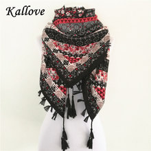 Hot sale bandana new fashion woman Scarf square scarves Printed Women Wraps Winter autumn ladies shawl Luxury Brand tassel scarf(China)