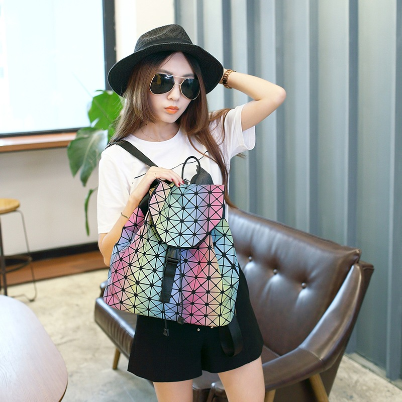 Japanese bao Women Multicolor Luminated Pearl Laser Sac Bags Diamond Tote Geometry Quilted Daypack Folding holographic Backpack<br>